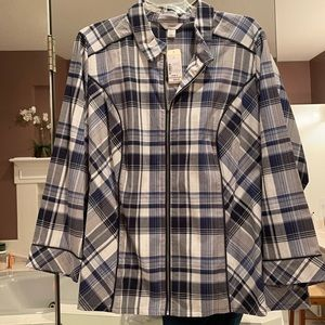3x CJ Banks zipper front long sleeves shirt